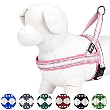 """Blueberry Pet Soft & Comfy 3M Reflective Jacquard Padded Dog Harness, Chest Girth 30"""" - 38.5"""", Pink, Large, Adjustable Harnesses for Dogs"""