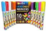 Liquid Chalk Markers Set of 10 Erasable Pen with Reversible Bullet 6mm Wet Erase Paint for Menu Board,Bar Chalkboard,Classroom Kids,Blackboard,Colored Cardboard,Paper,Labels.Dry Dustless