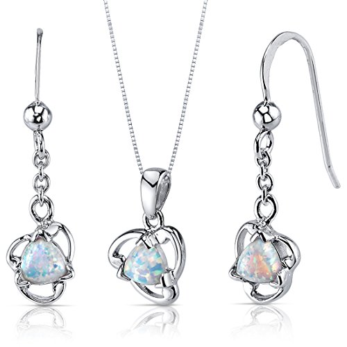 Created Opal Pendant Earrings Necklace Sterling Silver Triangle Shape
