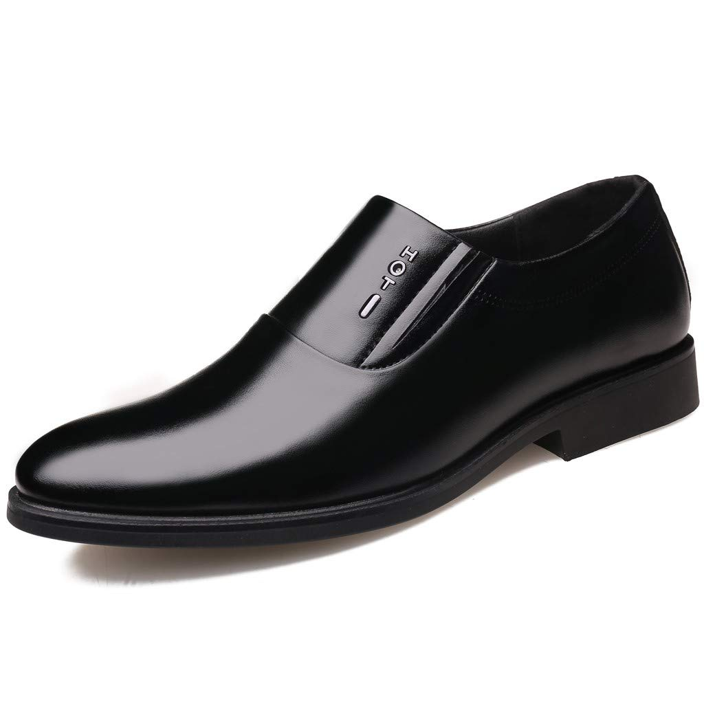 Mens Business Shoes, Males Bright Leather Slip on Oxford Dress Shoes Pointed Toe Suit Shoes Formal Flats Shoes