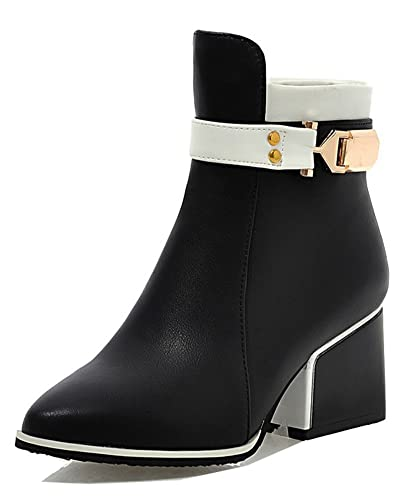 98fbd7d59f Aisun Women's Fashion Buckle Strap Inside Zip Up Block Mid Heels Short Boots  Dressy Pointed Toe