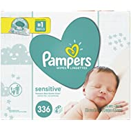 Baby Wipes, Pampers Sensitive Water Baby Diaper Wipes, Hypoallergenic & Unscented, 6X Pop-Top Pack, 336 Total Wipes