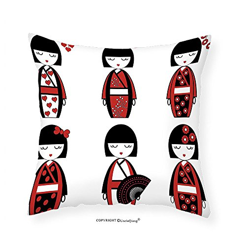 [VROSELV Custom Cotton Linen Pillowcase Girly Decor Collection Unique Japanese Geisha Dolls in Folkloric Costumes Outfits and Hair Sticks Kimono Art Image Bedroom Living Room Dorm Black Red 18