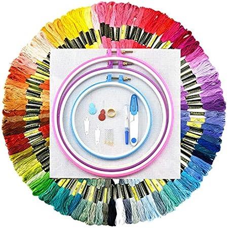 SODIAL - Juego de 100 piezas de hilo de punto de cruz de algodón para bordar, hilo de bordar, hilo de coser, madejas: Amazon.es: Hogar