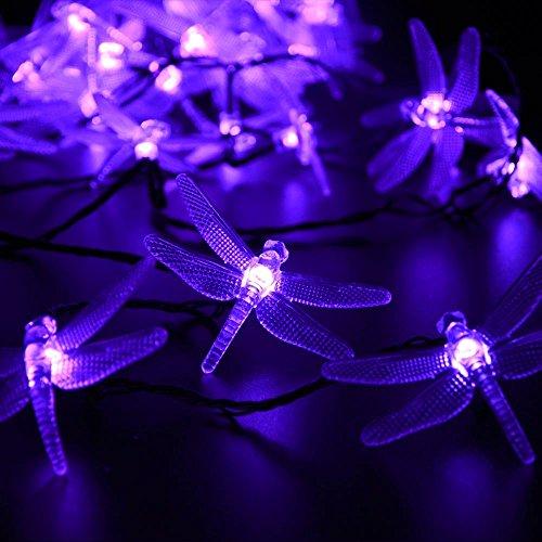 lederTEK Christmas Solar String Lights 19.7ft 30 LED 8 Modes Dragonfly Fairy Garden Light for Indoor, Bedroom, Outdoor, Homes, Wedding, Xmas Tree, Party, Waterproof (30 LED Purple)