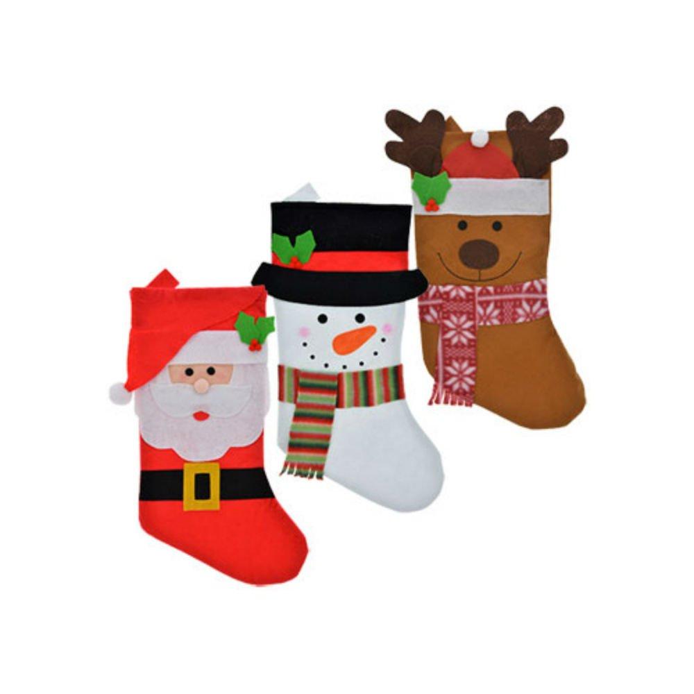 Santa Christmas House Adorable Christmas Characters 3-D Plush Stockings 19