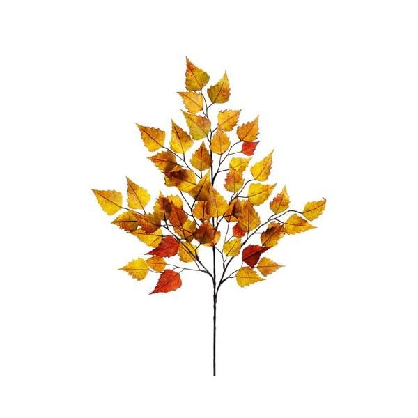 26″ Birch Leaf Spray x3 w/50 Leaves Mustard Green (Pack of 12)