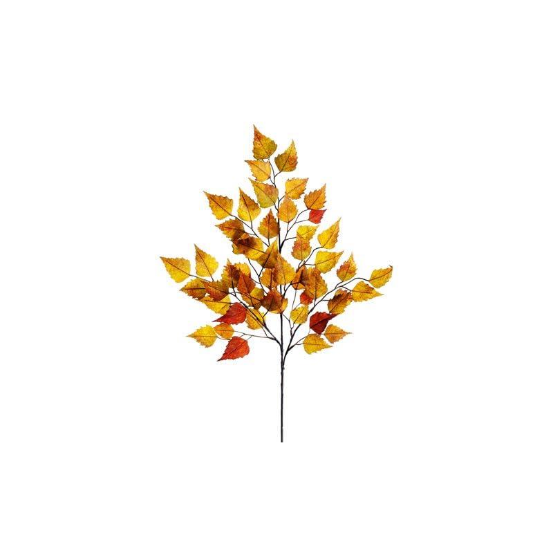 "silk flower arrangements 26"" birch leaf spray x3 w/50 leaves mustard green (pack of 12)"