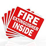 """Fire Extinguisher Inside Sticker Sign - Safety Signs - 5 Pack - 4"""" X 5"""" - Durable Self Adhesive, Weatherproof & UV Protected - Red/White in Color - Ideal Signs for Trucks, Cabinets or Equipment"""