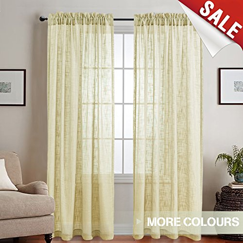 Make Rod Pocket Drapes (Linen Textured Voile Sheer Curtains for Living Room 84 inches Long Curtain Rod Pocket Drapes for Bedroom Window Treatment Set (1 Pair, Ivory))