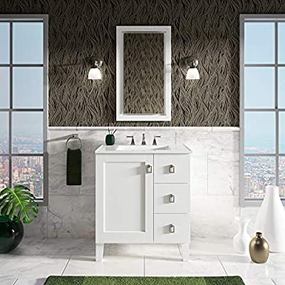KOHLER K-99530-LGR-1WA Poplin 30-Inch Ready- to-Assemble Vanity in Linen White, Solid Wood - Features 1 door and 3 drawers on the right with catalyzed conversion varnish for a durable moisture-resistant finish. Full-extension 18 in. D drawers with slow-close under-mount slides for smooth opening. Dimensions: 34.5 x 30 x 21.88 in. - bathroom-vanities, bathroom-fixtures-hardware, bathroom - 51B uGbZCFL. SS400  -