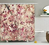 Floral Shower Curtain Ambesonne Floral Shower Curtain Antique Decor, Grungy Effect Cherry Blossoms on Ribbed Bamboo Retro Background Floral Art Work, Polyester Fabric Bathroom Shower Curtain Set with Hooks, Pink Beige