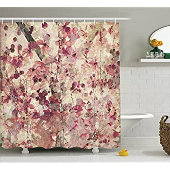 Amazon Com Floral Shower Curtain Antique Decor By Ambesonne