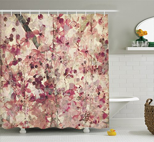 Ambesonne Floral Shower Curtain Antique Decor, Grungy Effect Cherry Blossoms on Ribbed Bamboo Retro Background Floral Art Work, Polyester Fabric Bathroom Shower Curtain Set with Hooks, Pink Beige Floral Curtain Fabric