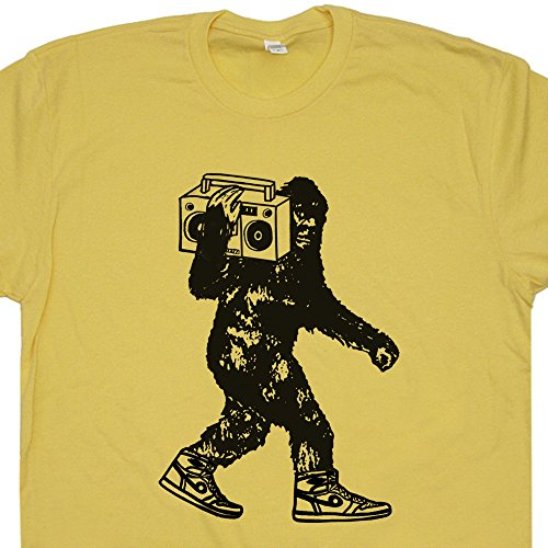 M - Ghetto Blaster Bigfoot T Shirts Funny Sasquatch Stereo DMC Vintage Hip Hop DJ Beastie Record Player Run 80s Boys Mens Womens Kids - Dmc Run 80s