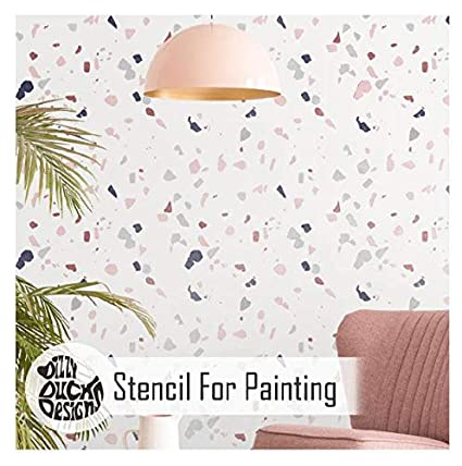 Terrazzo Marble Effect Wall Floor Stencil For Painting