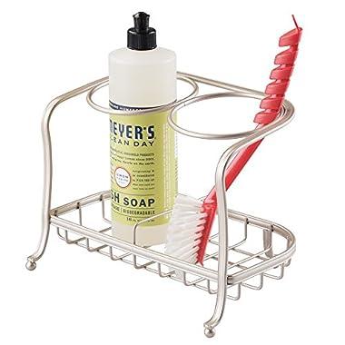 mDesign Housewares Countertop Sink Bottle & Brush Caddy, Satin