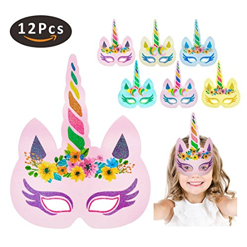 Rainbow Unicorn Sparkling Paper Masks Hats for Kids Birthday Party Favors -