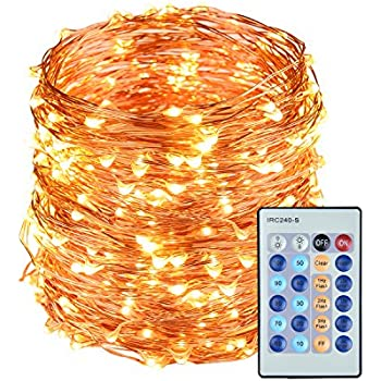 LightsEtc 200 LED String Lights Warm White 65.6ft Copper Wire Fair Lights Remote Control Plug in