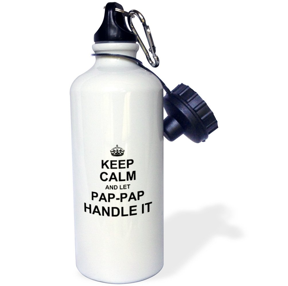 3dRose wb_233129_1''Keep Calm & Let PAP Handle It Funny Grandpa Pappap Humor Gift Sports'' Water Bottle, 21 oz, Natural