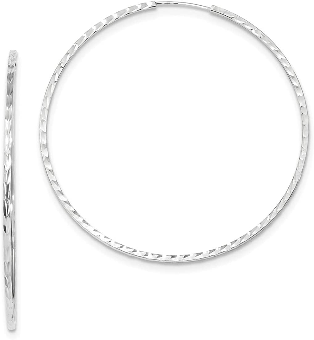 14K White Gold Diamond Cut Square Tube 55mm Endless Hoop Earrings