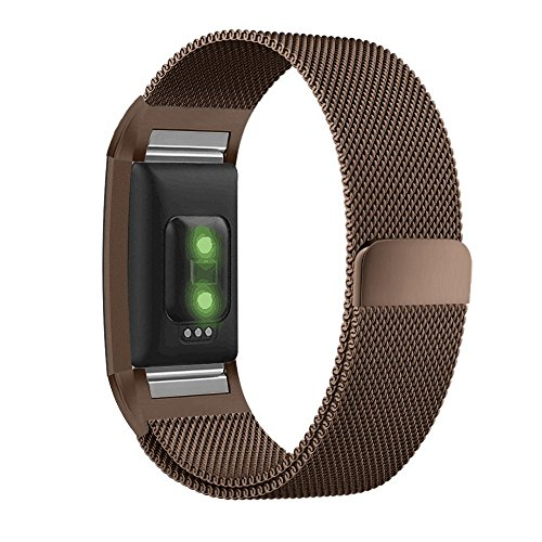 UMTELE for Fitbit Charge 2 Band, Milanese Loop Stainless Steel Metal Bracelet Strap with Unique Magnet Lock, No Buckle Needed for Fitbit Charge 2 HR Fitness Tracker Coffee Large