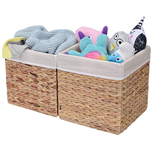 Wicker Storage Cubes - StorageWorks Rectangular Wicker Storage Baskets, Water Hyacinth Basket with Lining, Medium Baskets for Cube Storage, 10.2