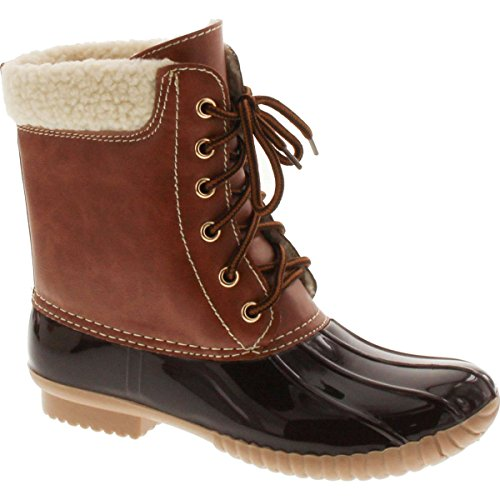 AXNY Dylan-3 Women's Two Tone Lace Up Ankle Rain Duck Boots Brown sz 9