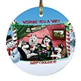 Home of Siberian Husky 4 Dogs Playing Poker Photo Round Christmas Ornament