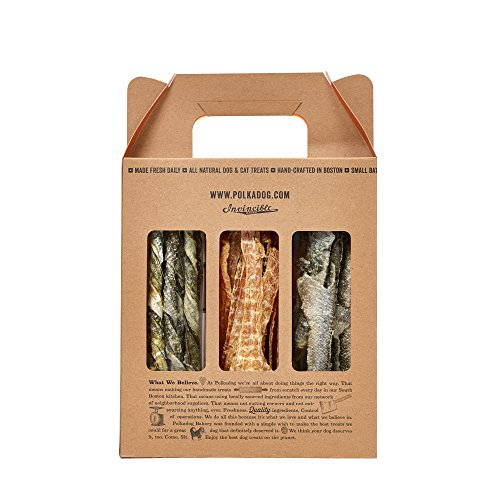 Polka Dog Bakery Surf Turf 3-Pack, Chicken Strips, Cod Skins And Haddock, Made In Usa