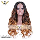 6A 3 Tone Ombre Wigs Human Hair Silk Top Lace Front Wigs With Baby Hair Human Hair Wigs For Woman (22inch 180%)