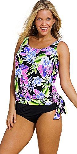 Beach Belle Brisbane Plus Size Blouson Tankini Women's Swimwear - Purple - Size:18
