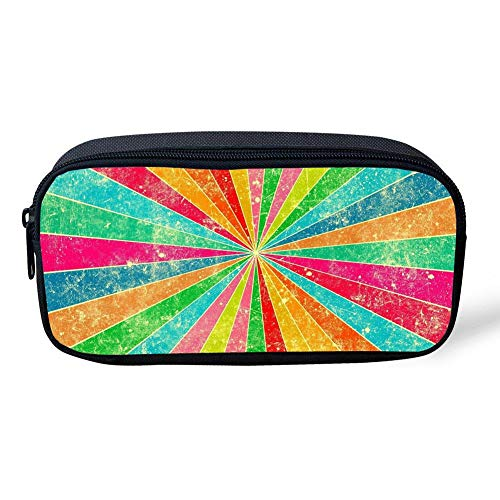 CUYcolorfulpencilbagPOI RainbowPrint Pencil Bag Canvas Durable Colored Pen Bag Kids School Stationery Pencil Case Women Casual Cosmetic Bags]()