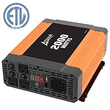 Image of Ampeak 2000W Power Inverter 3 AC Outlets DC 12V to 110V AC Car Converter 2.1A USB Inverter Power Inverters