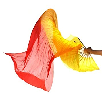 Blue Eidoct 1.8M Hand Made Belly Dance Dancing Silk Bamboo Long Fans for Party Stage Performance Silk Bamboo Long Fans for Party Stage Performance