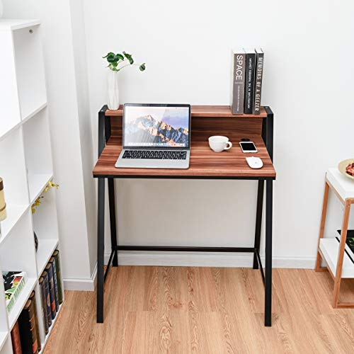 Tangkula Small Gaming Desk, 2 Tier Computer Desk, Home Office Wood Sturdy Frame Compact Writing Table for Small Place, Apartment Dom Office Furniture Sofa Bed Table, Study Writing Table