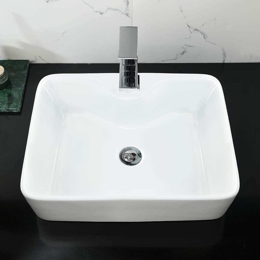 """Rectangle Bathroom Sink and Faucet Combo-WMXQX 19/""""x15/"""" White Bathroom Vessel Sink Above Counter Porcelain Ceramic Bathroom Vessel Vanity Sink Art Basin Faucet Matching Pop Up Drain Combo"""