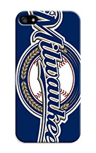Personalized Monogram Iphone 5/5S Case Iphone 5/5S pc hard Back Cover Milwaukee Brewers Baseball Mlb
