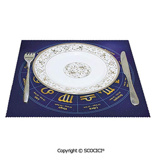 SCOCICI Polyester Non-Slip Square Kitchen Place Mats 1 Piece Horoscope Zodiac Signs with Birth Dates in Circle with Star Dots Print Thick Fabric Will Not Scratch Furnitur 12