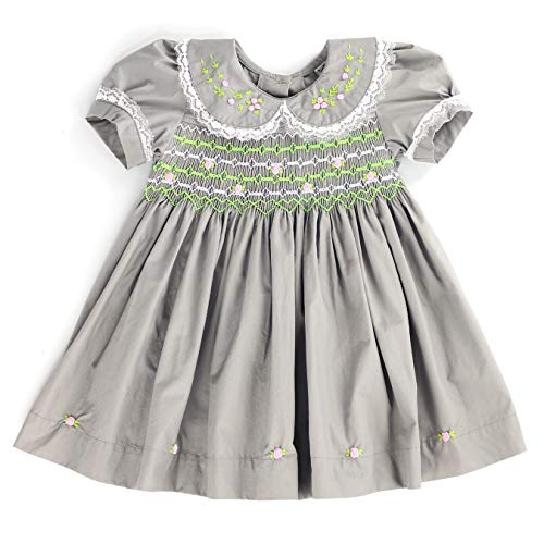sissymini - Lace & Flower Blossom Baby Girls Cotton Hand Smocked Dress  Modern Clay Sage, 4T