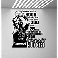 Atopdecals Vinyl Stickers Michael Jordan Quote Wall Decal Basketball Poster Sport Gift Gaming Room Mural Vinyl Sticker Children Playroom Decor Wall MZ11836