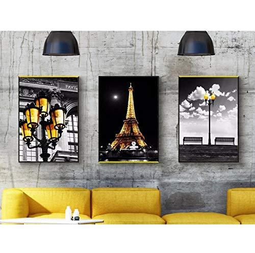 Series Moderne Paris - sasdasld 3 Pieces Canvas Paintings Modern City Series Black and White Art Paris Tower Lighting Golden Decorative Paintings d-4050cm3 No Frame