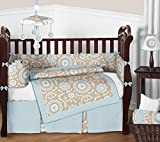 Sweet Jojo Designs 9-Piece Blue and Taupe Hayden Gender Neutral Baby Bedding Girl or Boy Crib Set