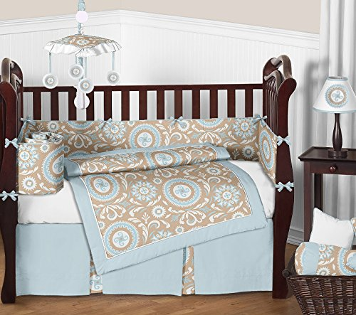 Sweet Jojo Designs 9-Piece Blue and Taupe Hayden Gender Neutral Baby Bedding Girl or Boy Crib Set by Sweet Jojo Designs (Image #6)