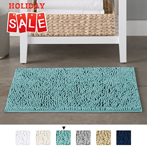 H.VERSAILTEX Non-Slip Microfiber Bath Rugs Chenille Floor Mat Ultra Soft Washable Bathroom Dry Fast Water Absorbent Bedroom Area Rugs, 17 x 24 - Inch, Duck Egg Shell (Ducks Rug Mat)