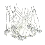 Happy Hours - 20Pcs Newest U-Shaped Rose Flower Pearl Rhinestone Crystal Hair Pins Clips Barrette for Prom Party Wedding Bridal Bridesmaid Jewelry Accessories(White)