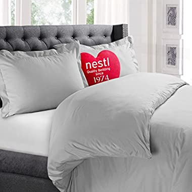 Nestl Bedding Duvet Cover, Protects and Covers your Comforter / Duvet Insert, Luxury 100% Super Soft Microfiber, Queen Size, Color Light Gray, 3 Piece Duvet Cover Set Includes 2 Pillow Shams