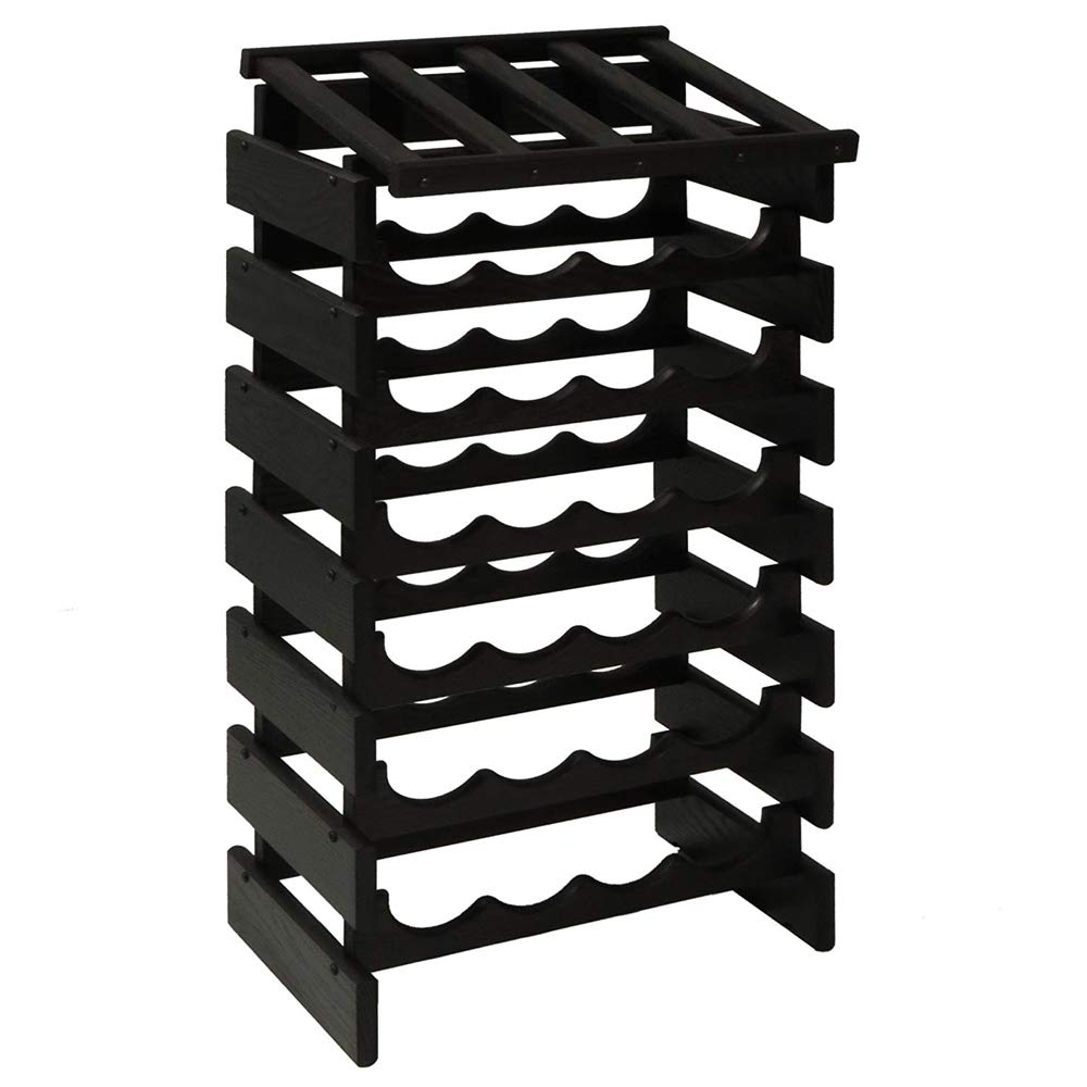 SKB family 28 Bottle Dakota Wine Rack with Shelf, 17.625'' x 34.875'' x 12.875'' x 17 lbs, Black