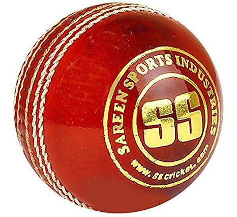 Ss Liga Especial Pelota de críquet (Piel, Rojo: Amazon.es ...