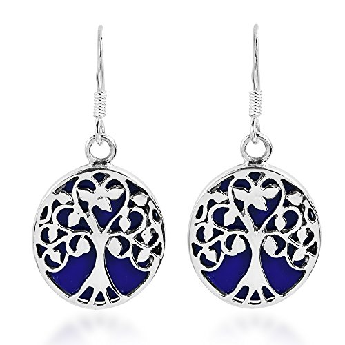 (Tree of Life with Simulated Blue Lapis-Lazuli Accents .925 Sterling Silver Dangle Earrings)